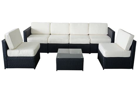 black outdoor sofa mcombo 7pcs black wicker patio sectional outdoor sofa
