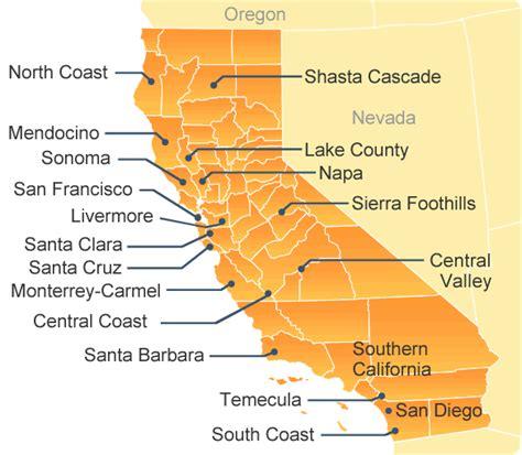 map of wineries in california map of california wine regions california corks