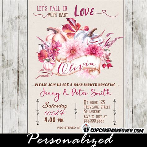 Floral Themed Baby Shower by Floral Burgundy Pink Fall Themed Baby Shower Invitations