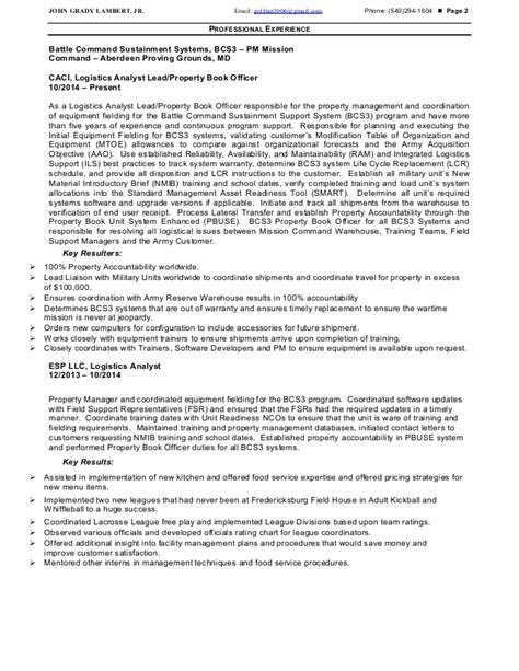 Property Book Officer Sle Resume by Property Book Officer Resume Resume Ideas