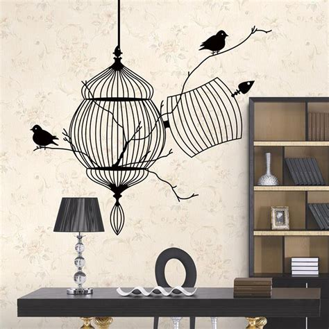 home decor birds birds cage branch 3d wall stickers home decor livingroom