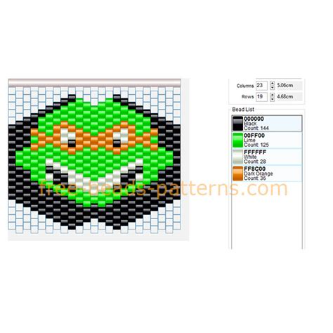 bead pattern design software free download tmnt cartoons michelangelo mask pony beads hama beads