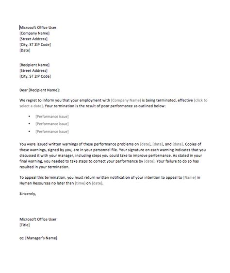 sample termination letter poor performance top form