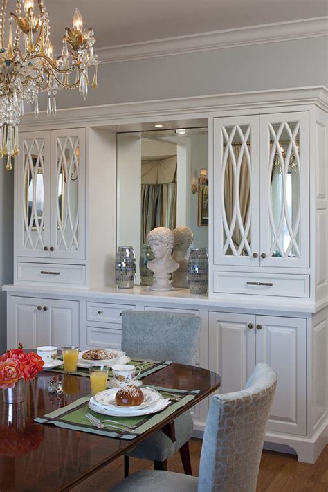 built in cabinets in dining room inspired buffet hutch in dining room traditional with