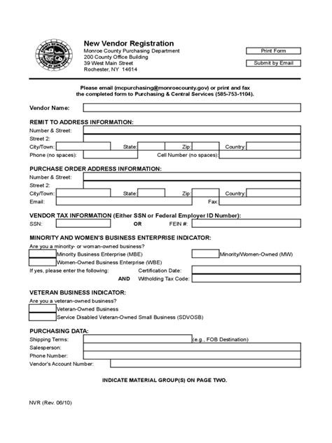 vendor setup form template vendor registration form 6 free templates in pdf word