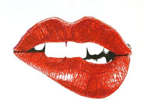 image gallery lip biting drawing