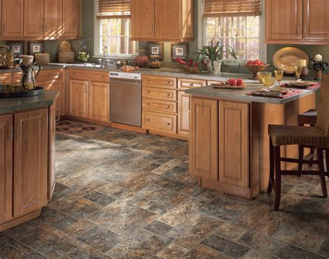Barn Plaza 14 Dark Brown And Grey Vinyl Flooring For Kitchen With Cherry