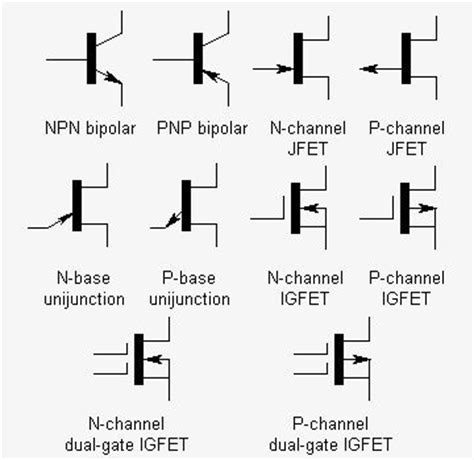 different types of transistor symbols electrical