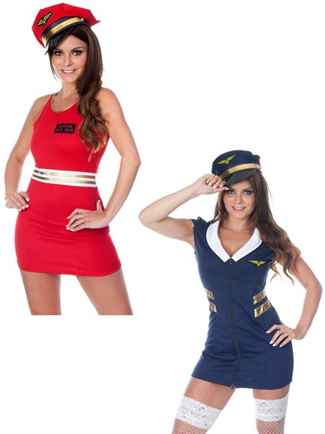 adult section ebay ladies sexy captain costume air force pilot cabin crew
