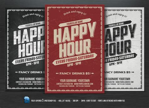 happy hour sign template happy hour flyer flyer templates on creative market