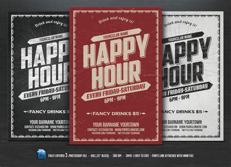 happy hour flyer flyer templates on creative market