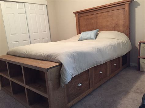 white farmhouse bed with storage and bookshelf
