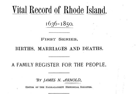 Providence Ri Divorce Records Arnold S Vital Records Of Rhode Island 1636 To 1850 Dvd