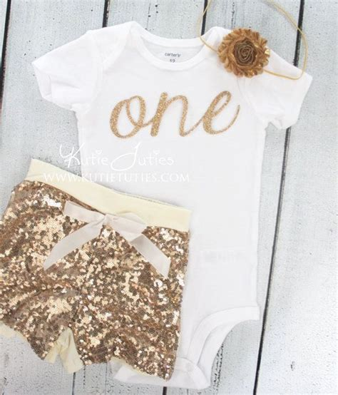 jersey sequin baby headband gold from gold glitter cursive quot one quot birthday shirt gold sequin