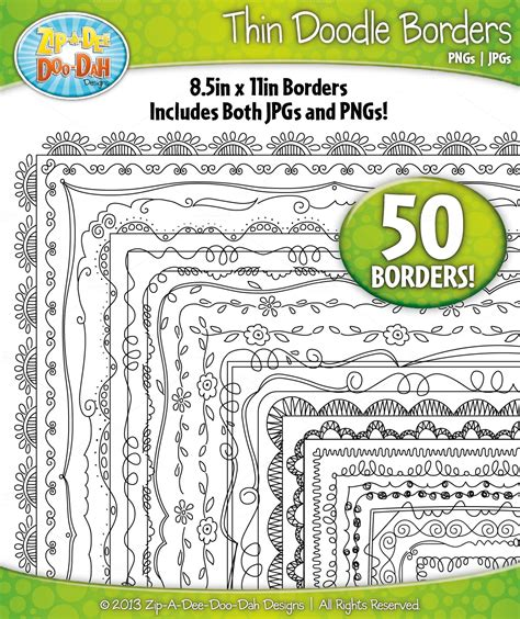 doodle border ideas thin doodle frame borders set 1 graphics on creative market