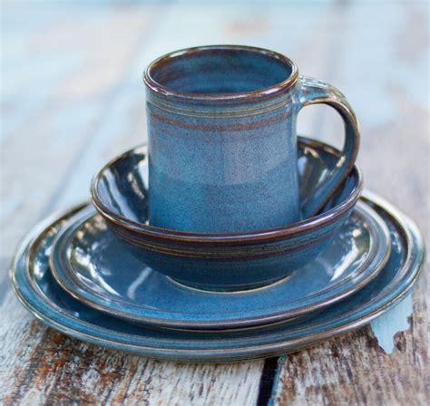 Handcrafted Dinnerware - blue ceramic dinnerware set 4 made crafted