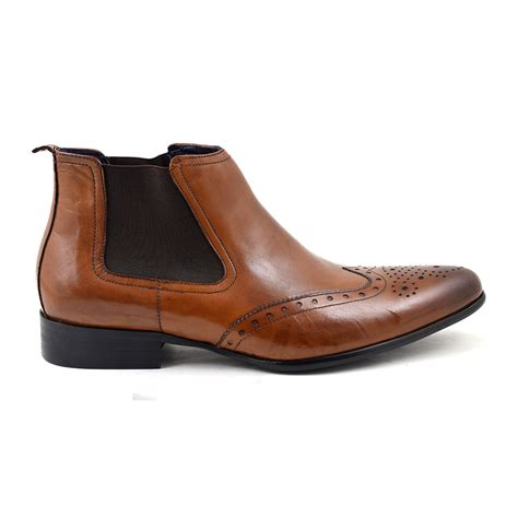 mens brown chelsea boot buy designer mens brown brogue chelsea boots gucinari