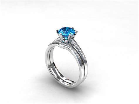 engagement ring set swiss blue topaz band wedding