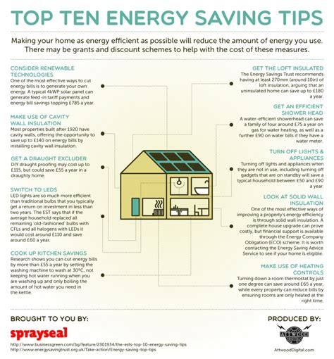 8 Tips For Home Energy Conservation by Top Ten Energy Saving Tips Visual Ly