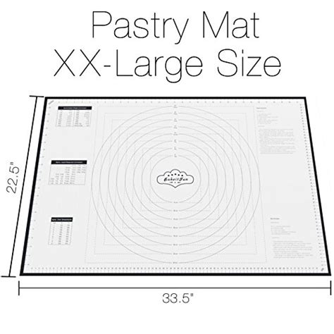 bakeitfun xx large silicone pastry mat with measurements