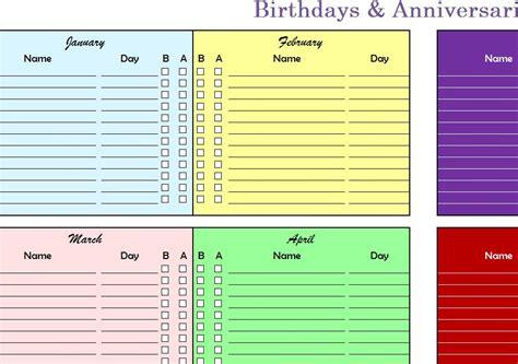 birthdays anniversaries chart  excel templates