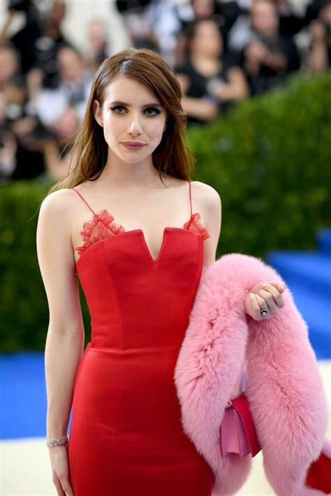 film met emma roberts emma roberts red evening gown 2017 met gala red carpet