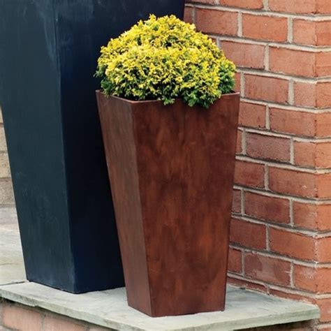 Cheap Vanity Numbers Square Resin Novelty Tall Ella Planter 19 5 In Teak