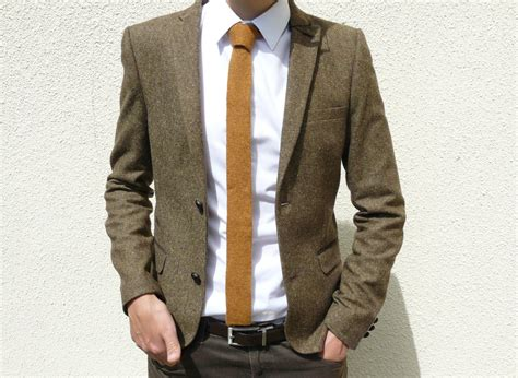 mustard knitted tie knitted tie in golden mustard brown lambswool made to