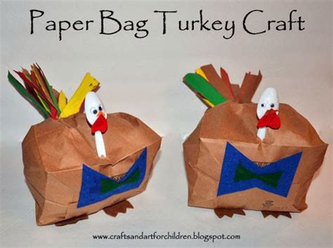 paper bag turkey craft thanksgiving paper crafts for paper crafts ideas