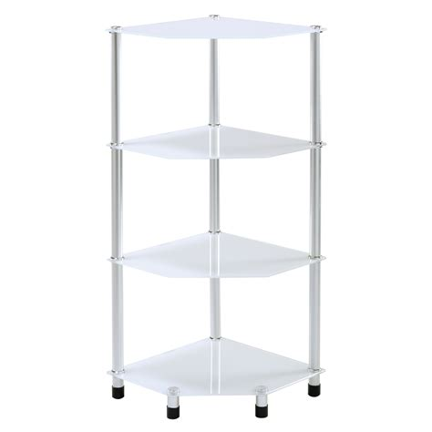 Corner Glass Shelf Unit by Glass Corner Shelf Shelving Unit Display L End