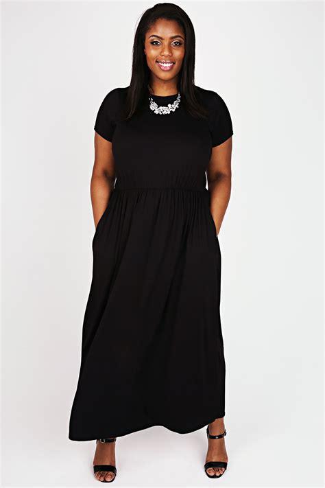 black cap sleeved maxi dress  elasticated waist