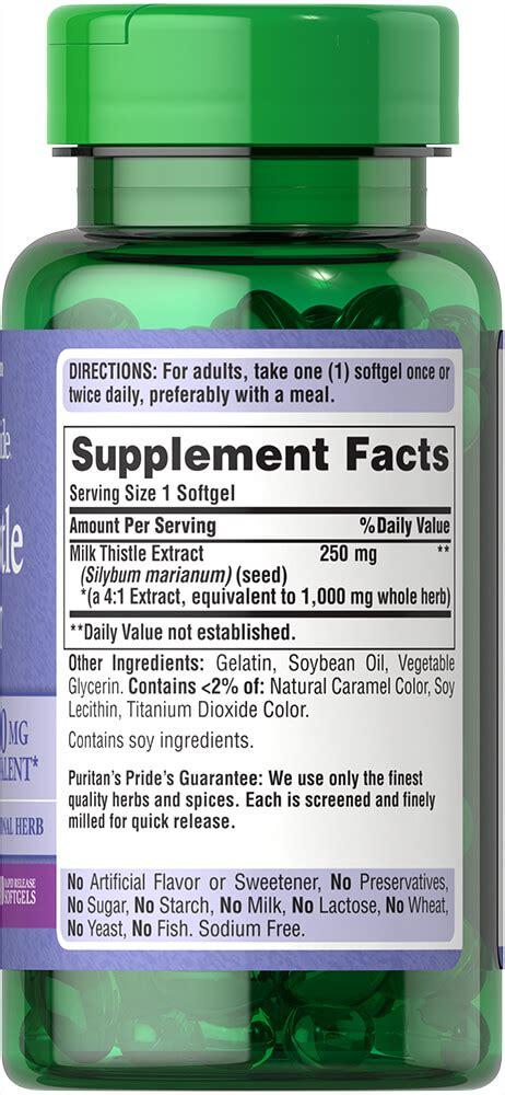 Puritan S Pride Milk Thistle 4 1 Extract 1000 Mg Silymarin 180 Softg milk thistle 4 1 extract 1000 mg silymarin 90 softgels