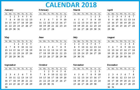 Calendar 2018 12 Months 12 Month Printable Calendar 2018 From January To