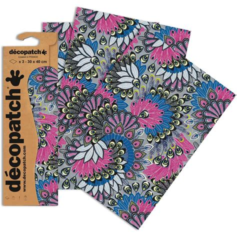 printable fabric sheets hobbycraft decopatch pink peacock swirls paper 3 sheets hobbycraft