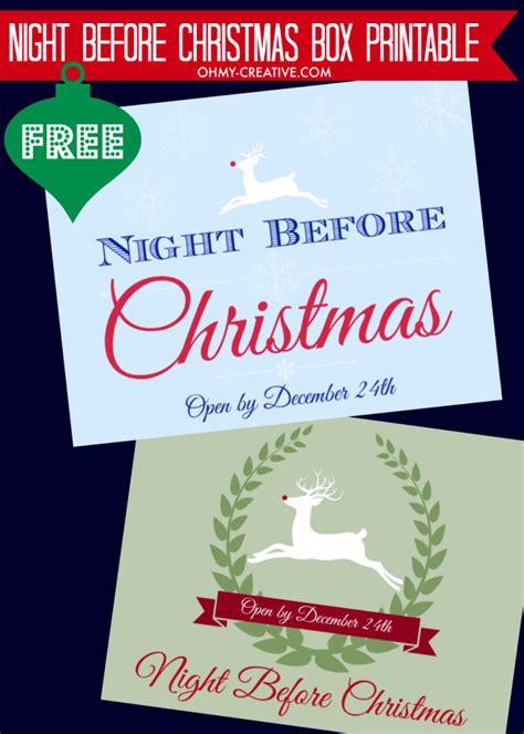 printable christmas eve box night before christmas box with free printable label