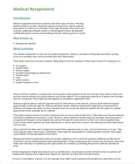 free receptionist resume templates 5 receptionist resume templates pdf doc free