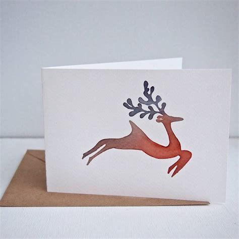 Handmade Reindeer Cards - handmade watercolour reindeer card by kabinshop
