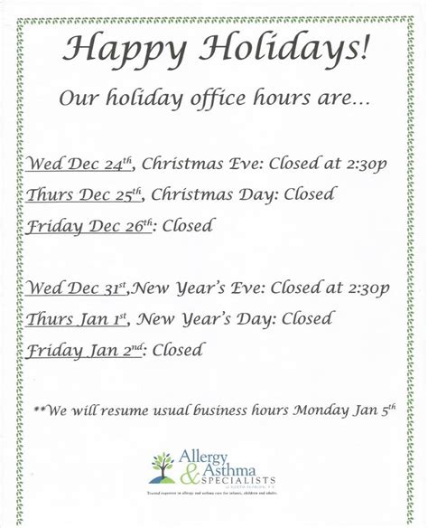 Closing For Vacation Letter Office Hours Allergy Doctors Jacksonville Allergy Asthma Specialists