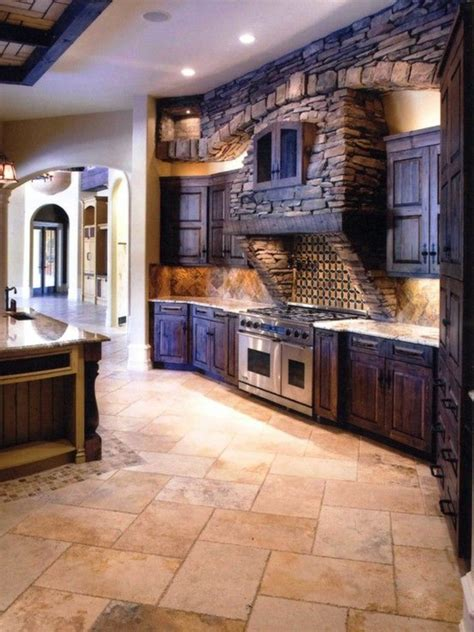 Stone Kitchen Backsplash la cuisine en bois massif en beaucoup de photos