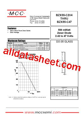 zener diode bzx datasheet bzx55 c8v2 datasheet pdf micro commercial components