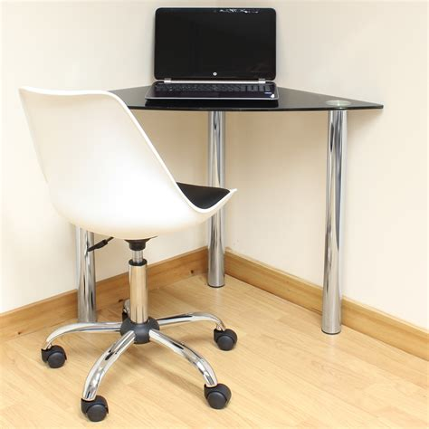 Computer Desk Legs Black Glass Corner Computer Pc Laptop Desk Home Office Study Table Chrome Legs Ebay