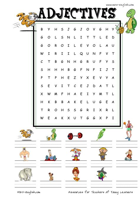 printable word search for english learners adjectives1 wordsearch