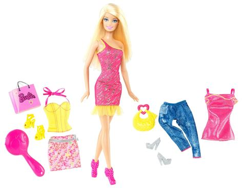 doll house fashion barbie doll and fashion pink dress gift set