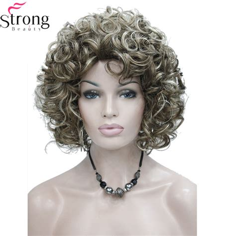 brown with blonde highlights wig short style curly capless wig brown with blonde highlights