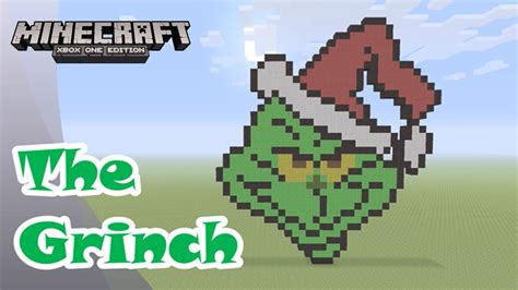minecraft pixel art tutorial  showcase  grinch christmas pixel art youtube