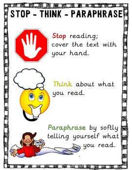 stop reading a strategy to read less and comprehend more books stop think paraphrase comprehension strategy poster