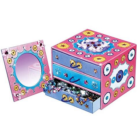 Decorating Ideas For Jewelry Boxes Pretty Me Jewelry Box And Mirror Decorating Craft Kit