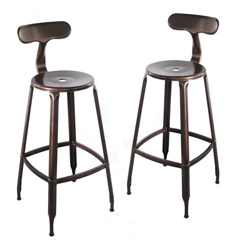 Copper Back Bar Stools by Copper Metal Bar Stool With Back Set Of Two Ch0268 2