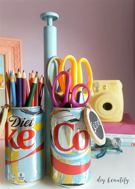 soda can crafts for how to make a diy craft caddy with soda cans diy beautify