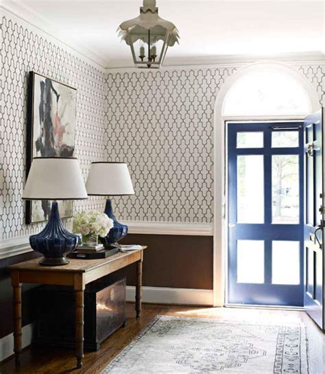 foyer wallpaper quatrefoil wallpaper eclectic entrance foyer house